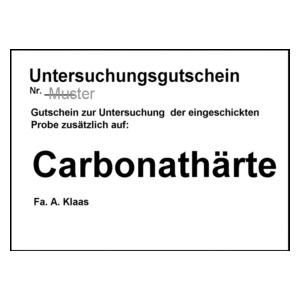 Untersuchungsgutschein Carbonathärte